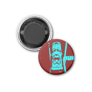 Aquamariner/sonderbares Gesichts-kleiner runder Runder Magnet 2,5 Cm