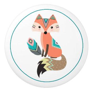 Aquamariner Stammes- Fox mit Feder Keramikknauf