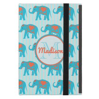 Aquamariner Türkis, blaue Elefanten, Name der iPad Mini Schutzhülle