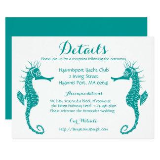 Aquamariner Türkis führt Seepferd-Strand-Hochzeit 11,4 X 15,9 Cm Einladungskarte
