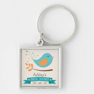 Aquamariner u. orange Vogel auf Schlüsselband