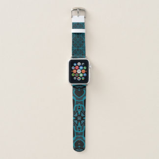 Aquamariner und HolzkohleMandala Apple Watch Armband