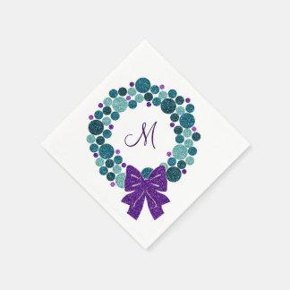 Aquamariner und lila Glittery Wreath der Papierserviette
