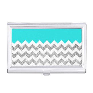 Aquamariner und silberner Imitat-Glitter Zickzack Visitenkarten Dose