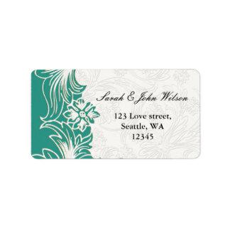 Aquamariner und weißer adressaufkleber