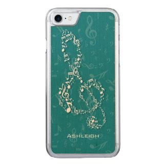 Aquamariner und weißer dreifacher Clef-Musiknoten Carved iPhone 8/7 Hülle