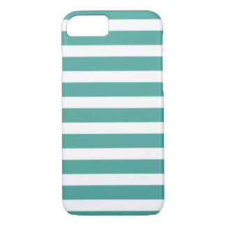 Aquamariner und weißer gestreifter Telefon-Kasten iPhone 8/7 Hülle