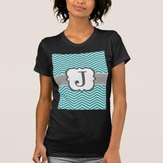 Aquamariner weißer Monogramm-Buchstabe J Zickzack T-Shirt