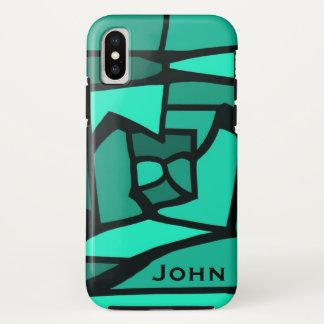 Aquamarines beflecktes Glas w Ihr iPhone X Hülle