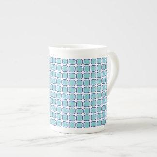 Aquamarines Blau gekipptes Kasten-Muster Porzellantasse