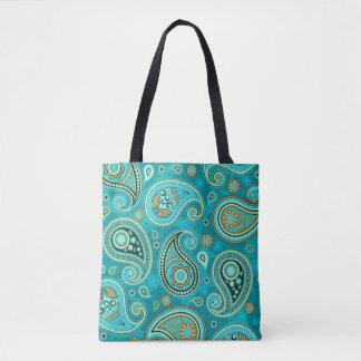 Aquamarines Blau Paisley-Musters Tasche