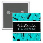 Aquamarines blaues Haar-Salon-Namen-Abzeichen Quadratischer Button 5,1 Cm