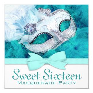 Aquamarines blaues Maskerade-Party Quadratische 13,3 Cm Einladungskarte