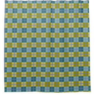 Aquamarines blaues olivgrünes gelbes lila Muster Duschvorhang