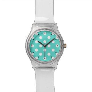 Aquamarines blaues Polka-Punkt-Muster Armbanduhr