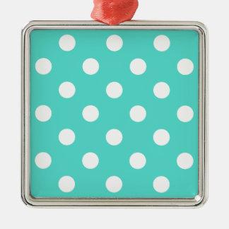 Aquamarines blaues Polka-Punkt-Muster Silbernes Ornament