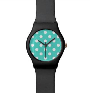 Aquamarines blaues Polka-Punkt-Muster Uhr