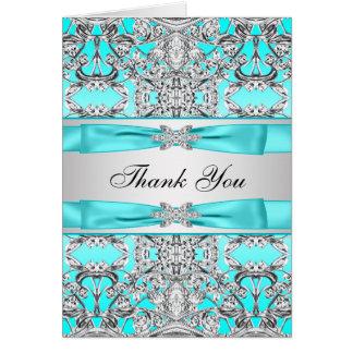 Aquamarines blaues Silber danken Ihnen Mitteilungskarte