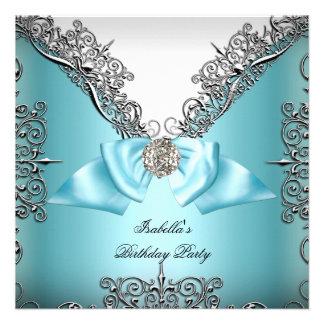 Aquamarines blaues silbernes weißes einladungskarte