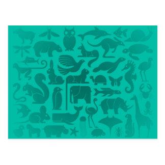 Aquamarines blaues Tierkönigreich-Muster Postkarte