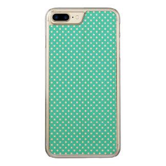 Aquamarines blaues und weißes Polka-Punkt-Muster Carved iPhone 8 Plus/7 Plus Hülle