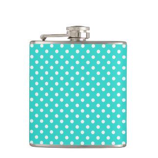 Aquamarines blaues und weißes Polka-Punkt-Muster Flachmann