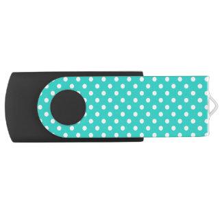 Aquamarines blaues und weißes Polka-Punkt-Muster Swivel USB Stick 2.0
