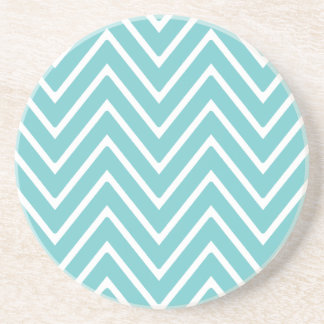Aquamarines blaues und weißes Zickzack Muster 2 Sandstein Untersetzer