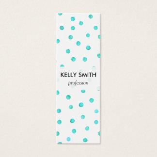 Aquamarines blaues weißes Confetti-Punkt-Muster Mini Visitenkarte
