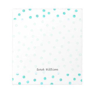 Aquamarines blaues weißes Confetti-Punkt-Muster Notizblock