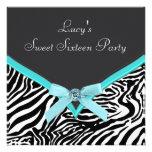 Aquamarines blaues Zebra-Geburtstags-Party Individuelle Einladungskarte