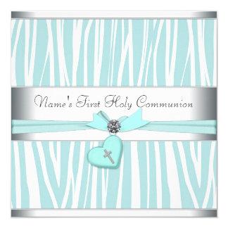 Aquamarines blaues Zebra-Kreuz-erste Kommunion Quadratische 13,3 Cm Einladungskarte