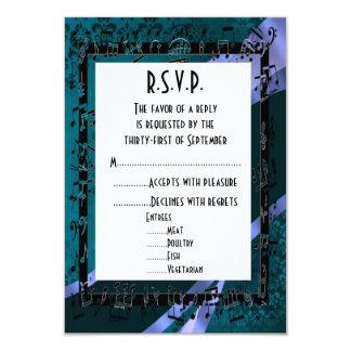 Aquamarines Damastschwarzes formales wedding 8,9 X 12,7 Cm Einladungskarte