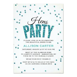 Aquamarines Glitter-Blickconfetti-Henne-Party 12,7 X 17,8 Cm Einladungskarte