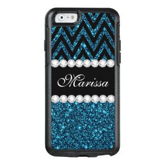 Aquamarines Glitter-Schwarz-Zickzack Muster OtterBox iPhone 6/6s Hülle