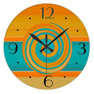 Aquamarines Gold und orange >Simplistic Große Wanduhr