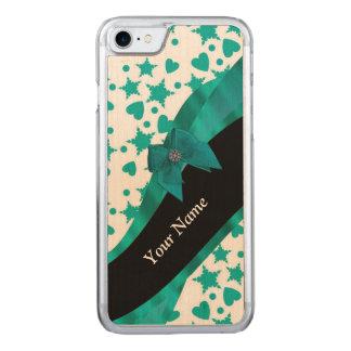 Aquamarines grünes hübsches spotty gemustertes carved iPhone 8/7 hülle