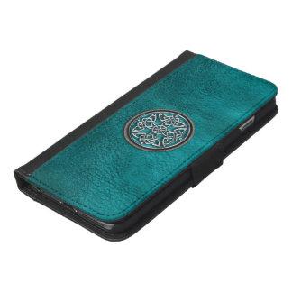 Aquamarines Leder und keltischer iPhone 6/6s Plus Geldbeutel Hülle