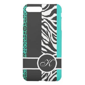 Aquamarines Leopard-und Zebra-Tier-Monogramm iPhone 8 Plus/7 Plus Hülle
