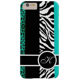 Aquamarines Leopard-und Zebra-Tierdruck-Monogramm Barely There iPhone 6 Plus Hülle