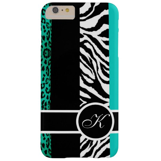 Aquamarines Leopard-und Zebra-Tierdruck-Monogramm Barely There iPhone 6 Plus Hülle