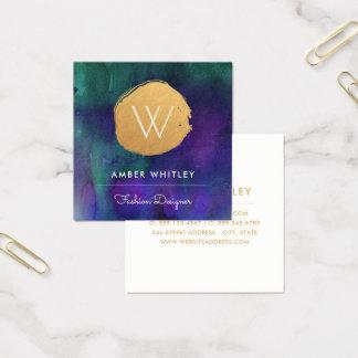 Aquamarines Lila des Watercolor-und Quadratische Visitenkarte