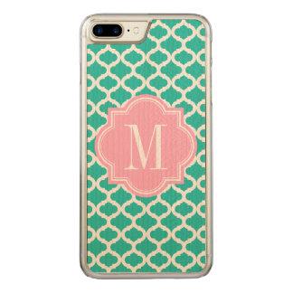 Aquamarines marokkanisches Muster mit rosa Carved iPhone 8 Plus/7 Plus Hülle