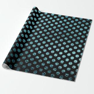Aquamarines metallisches Polka-Punkt-Schwarzes Geschenkpapier