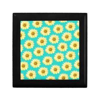 Aquamarines Muster der Sonnenblume Schmuckschachtel