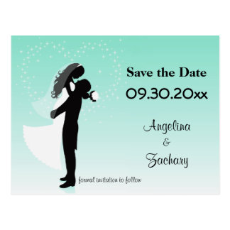 Aquamarines Ombre Save the Date, das Postkarte