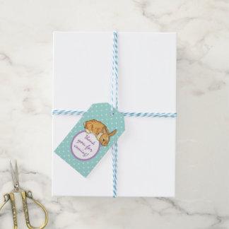 aquamarines Polkapunkthäschen Geschenkanhänger