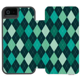 Aquamarines Rautenmuster Incipio Watson™ iPhone 5 Geldbörsen Hülle