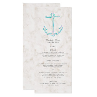Aquamarines rustikales Anker-Hochzeits-Menü 10,2 X 23,5 Cm Einladungskarte