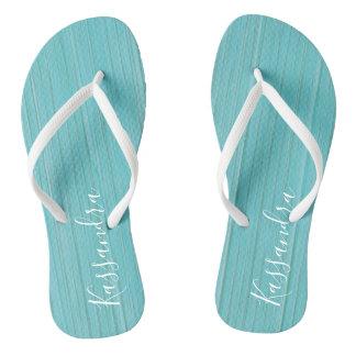 Aquamarines rustikales hölzernes personalisiertes flip flops